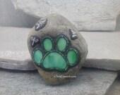 Green Paw Mosaic Paperweight / Garden Stone