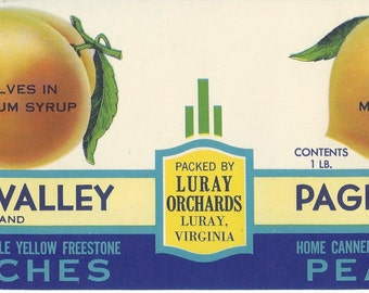 Page Valley Peaches Vintage Can Label, 1950s