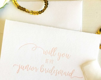 Will You Be My Junior Bridesmaid - Junior Bridesmaid Proposal - Junior Bridesmaid Card - Asking Bridesmaid - Bridesmaid Proposal - Blush