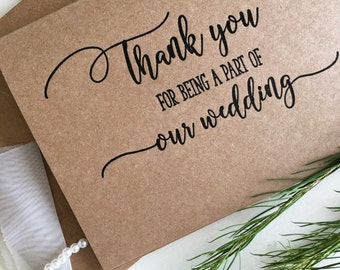 Wedding Party Thank You Card, Wedding Party Gifts, Wedding Party Favours, Bridal Party Thank You Cards, Bridal Party Gifts, Rustic Card