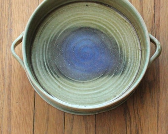 Vintage 70's Modern Sage Green, Tan and Cobalt Blue Galaxy Spiral Handmade Ceramic Pottery Serving Dish
