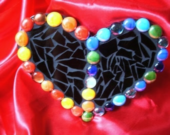 CUSTOM MOSAIC HEART Created with Black Stained Glass and Surrounded by Multicolored Glass Gems / One-of-a-Kind