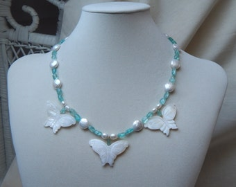 Butterfly necklace,Pearl butterfly necklace,pearl,apatite butterfly necklace,turquoise necklace,aqua necklace,Christmas gift,Birthday gift
