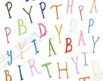 "Birthday Jumble, Birthday Card, 4.25""x5.5"", Blank Inside, Letters, Watecolor"