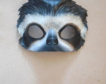 Leather Sloth Mask - Sloth - Adult or Child Sizes - Sloth Costume - Masquerade Mask - Halloween Animal Costume - Halloween Mask