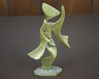 Mid Century Brass Figurine - Geisha Abstract
