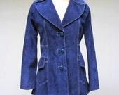 Vintage 1960s Coat / 60s Blue Suede Coat / Small