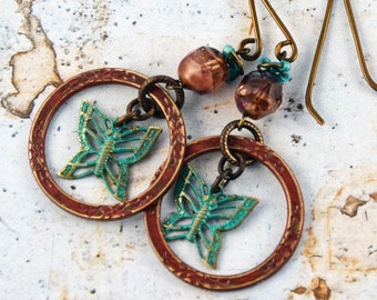 Green  Brown Burgundy Patina Loops Butterflies Charms Glass Beads Wire-Wrapped Boho Earthy Woodland Earrings