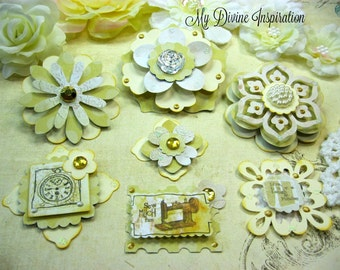 Prima Life Time Handmade Paper Embellishments and Paper Flowers for Scrapbook Layouts Cards Tags Mini Albums and Paper Crafts
