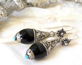 boho earrings black onyx earrings dangle earrings Tibetan pendant gemstone earrings black earrings bohemian stone earrings ethnic