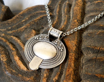 SALE ethnic necklace bohemian necklace gypsy necklace tribal pendant necklace boho jewelry boho necklace silverplated pendant tribal