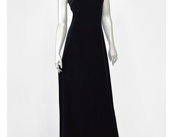 90s Black Velvet Dress Satin Trim Black Evening Gown Party Dress Niki Livas 1990s Prom Dress Long Formal Dress Velvet Maxi Dress Black Dress