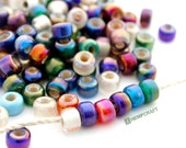 Radiant Glass Pony Beads, 9mm Assorted Glass Crow Rollers, 50pc