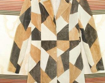 90s B.B. Dakota Pret A Porter Patchwork Leather Suede Jacket Coat/Medium
