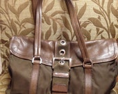 Gotta Go SALE 35% Off  // Vintage PRADA Brown leather and nylon shoulder bag// Gorgeous Leather // Must See