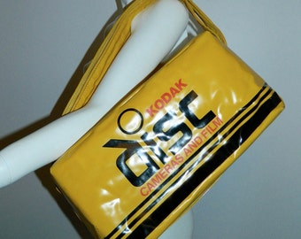 vintage 1980s Kodak Disc camera color promotional bag yellow tote