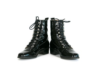 Vintage 90's Shiny Black Leather Lace Up Boots Women's Roper Boots Size 6 M USA