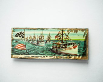 Fridge Magnet Refrigerator Magnet Handmade Wood Decoupage  Ship Rustic Nautical Tropical Picture Decor Gift for Him