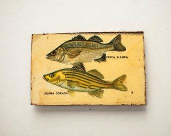 Fridge Magnet Refrigerator Magnet Rustic Handmade Wood Decoupage  Fish Fishing Nautical Ocean Picture Decor Gift for Him