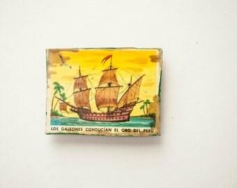 Fridge Magnet Refrigerator Handmade Wood Decoupage  Ship Rustic Nautical Tropical Picture Decor Gift for Him