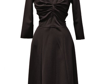 SALE 50s inspired dress in black with a high collar, size US 12