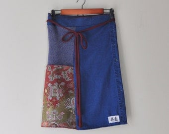 Upcycled Patchwork Sweater WrapSkirt in Indigo Blue/Kanji/Boho Wrap/Folk Art Fall Wrap
