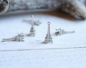 10pcs of Silver Colored 3D Eiffel Tower Travel Theme Charms Pendants Drops U001