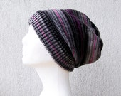 Slouchy beanie hat Knitted hat Knit Hat Wool hat Womens hat Winter hat Striped hat Knit beanie Knit hats women Slouchy hat Striped beanie
