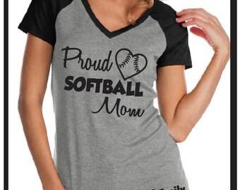 CUSTOM Softball Mom Proud softball Mom with jersey Number and custom name. Custom bling Shirt, Custom Softball Shirt, Softball Mom Shirt,