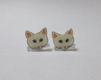 White Cat Earrings Cat Ear Studs Pet Cat Animal Jewellery