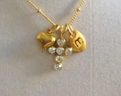 Gold and Crystal Cross, Initial M and Heart Necklaace