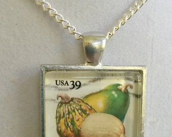 Silver Pendant Gourd Stamp Necklace