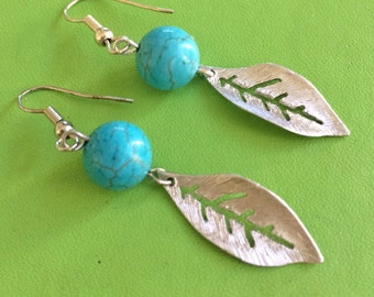 Silver Leaf and Turquoise Earrings