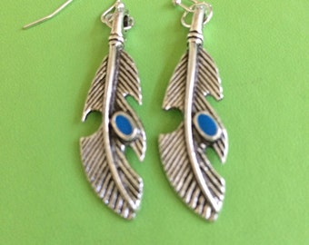 Feather and Green Crystal Earrings