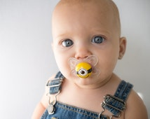 One Eyed Minion Custom Hand Painted Pacifier by PiquantDesigns
