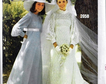 Vogue Bridal Design 2058 60s Misses Brides & Bridesmaids Dress Sewing Pattern Bust 36