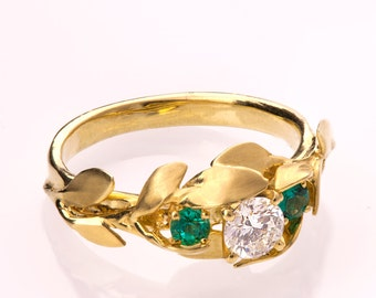 Leaves Engagement Ring No.8, 14K Gold and Diamond engagement ring, 3 Stone Ring,Three stone ring, Unique Engagement Ring, leaf ring, emerald