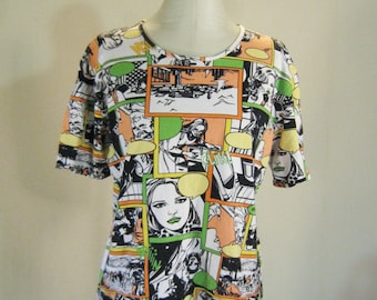 1990s Comic Book Pop Art Print Shirt Top