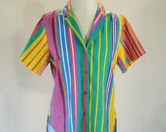 Bright Fruit Stripes Button Down Shirt Top