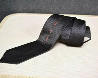 1960s Silvery Charcoal Silk Necktie