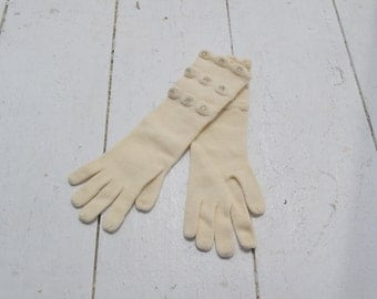 1950s Rhinestone Wool Knit Gloves