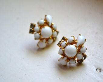 1950s Milk Glass and Rhinestone Screw Back Earrings