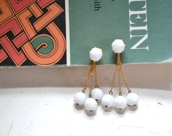 1960s White Glass Bead Dangle Clip Earrings