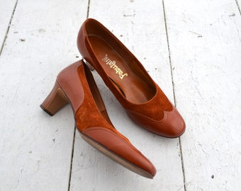 1960s Fabulaire Russet Heels, Size 8.5
