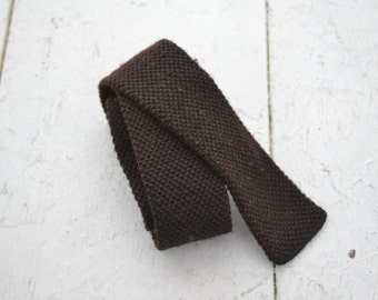 1960s Woolster Wool Knit Square End Necktie