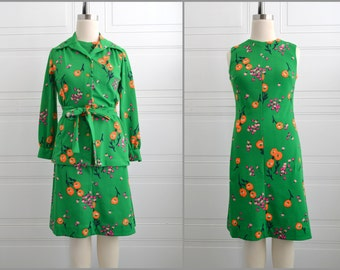1970s Bright Green Floral Dress and Jacket Set