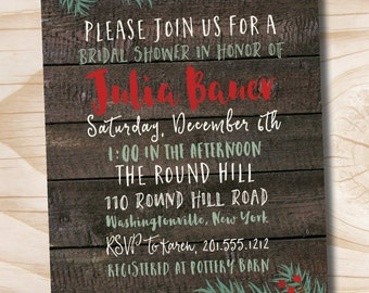 Christmas Winter Floral Pine Wooden Plank Bridal Shower Baby Shower - Printable digital file or printed invitations