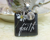 Black Daisy Faith Christian Glass Tile Pendant with Dangles and Charm Necklace on Silver Plated Ball Chain
