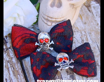 Hair Bow , Gothic Red Eyes Hair Art Bows, Emo, Scene, Lolita, Rave, Punk, Cyber, Red Sugar Skull , Cyber, Handmade By: Tranquilityy