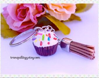 Cupcake Keyring , Chocolate Cupcake Key Chain, w/ Sprinkles Tassel Keychain ,  Easter , Birthday Gift ,Handmade By: Tranquilityy